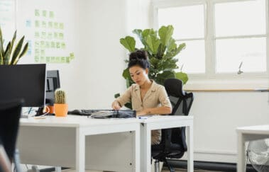 woman working on business plan