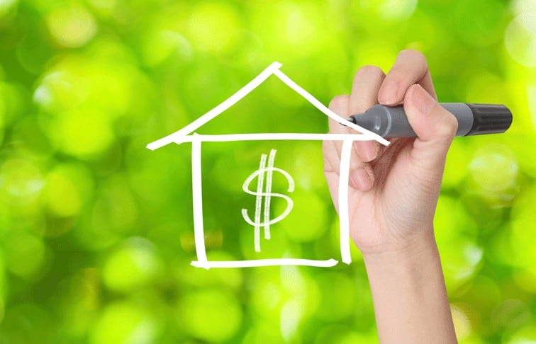 Hand drawing a house shape with a dollar sign, representing real estate salary