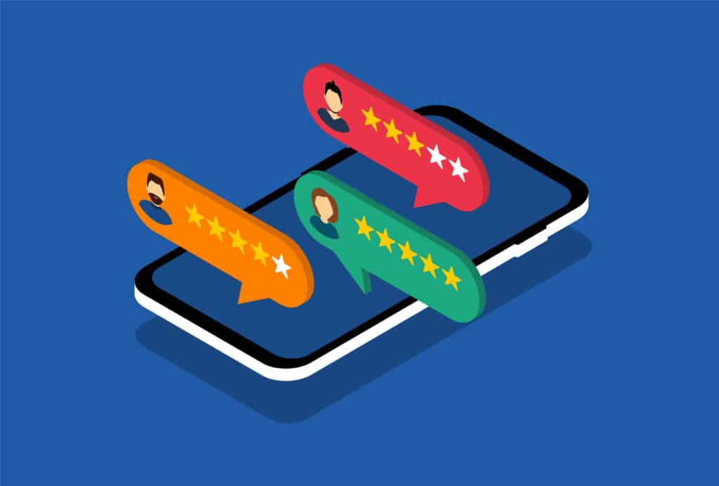Smartphone with customer review. Feedback. Social media. Vector isometric style.