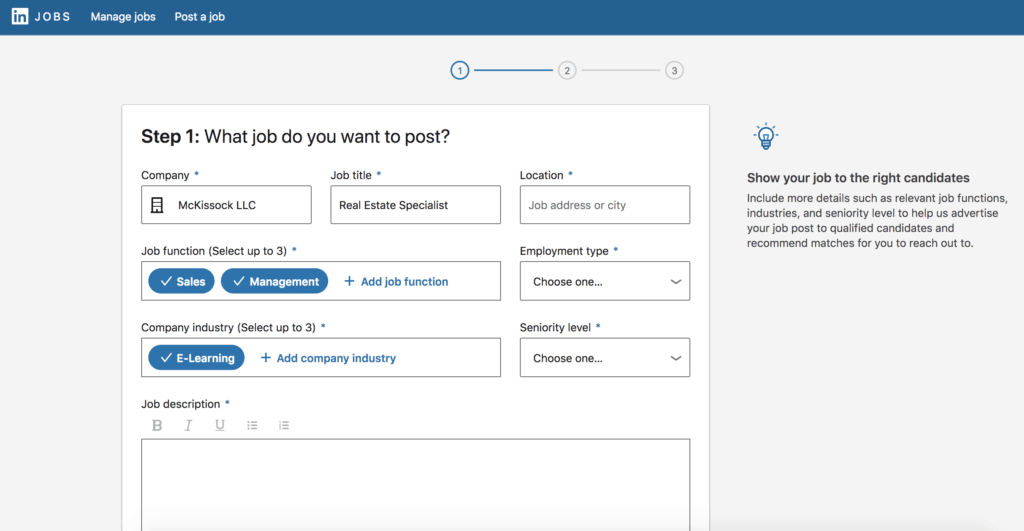 LinkedIn job post screencapture