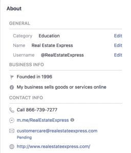 About Section for Business Facebook Page