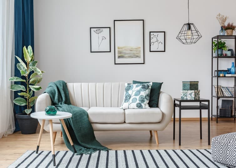 throws and pillows in staged living room