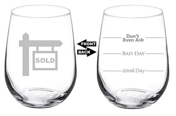 Real estate sold wine glass engraved