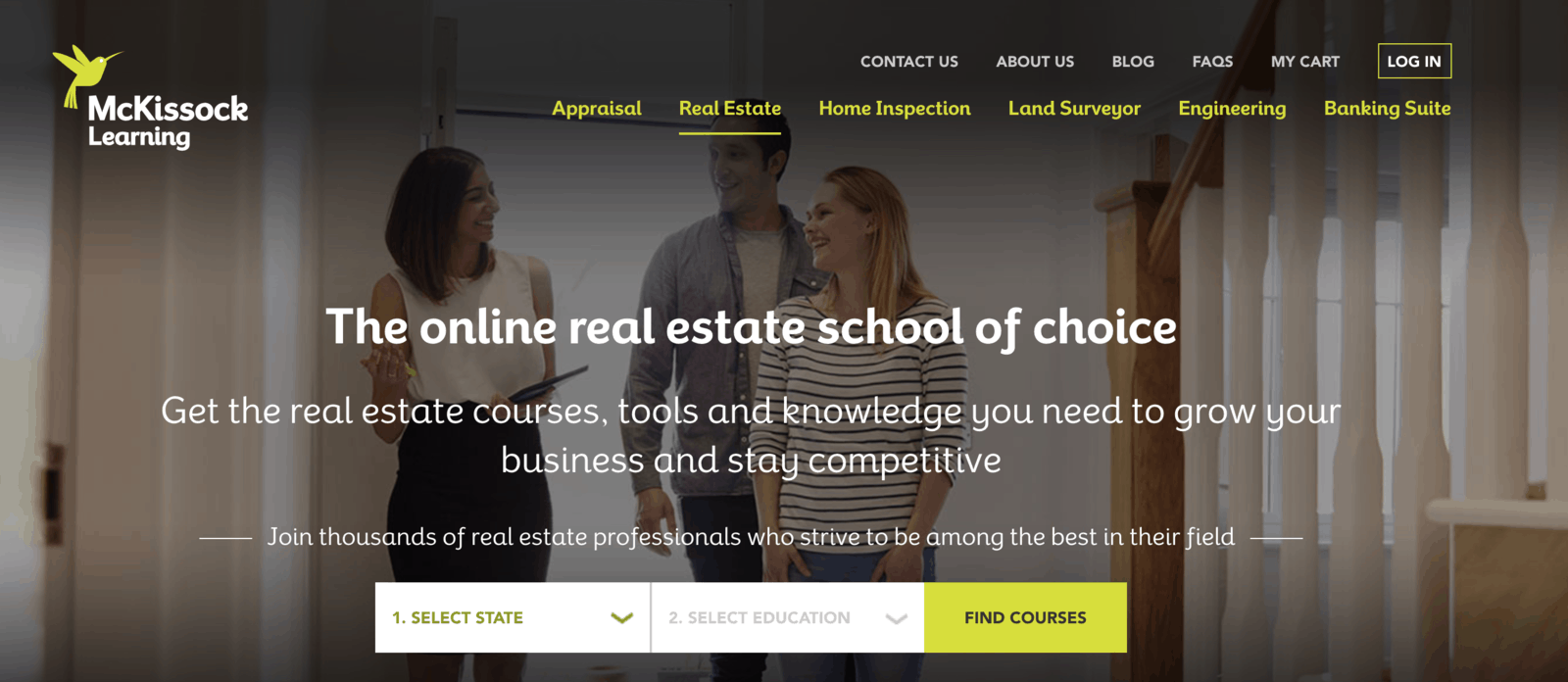 McKissock Learning Real Estate Continuing Education Website Screenshot