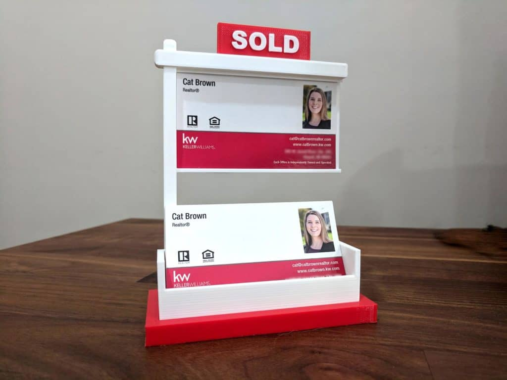 realtor business card holder sold sign