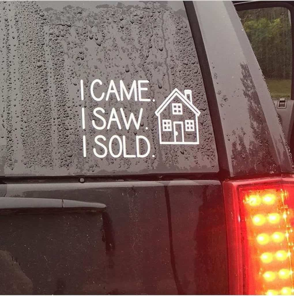 real estate agent car decal sticker