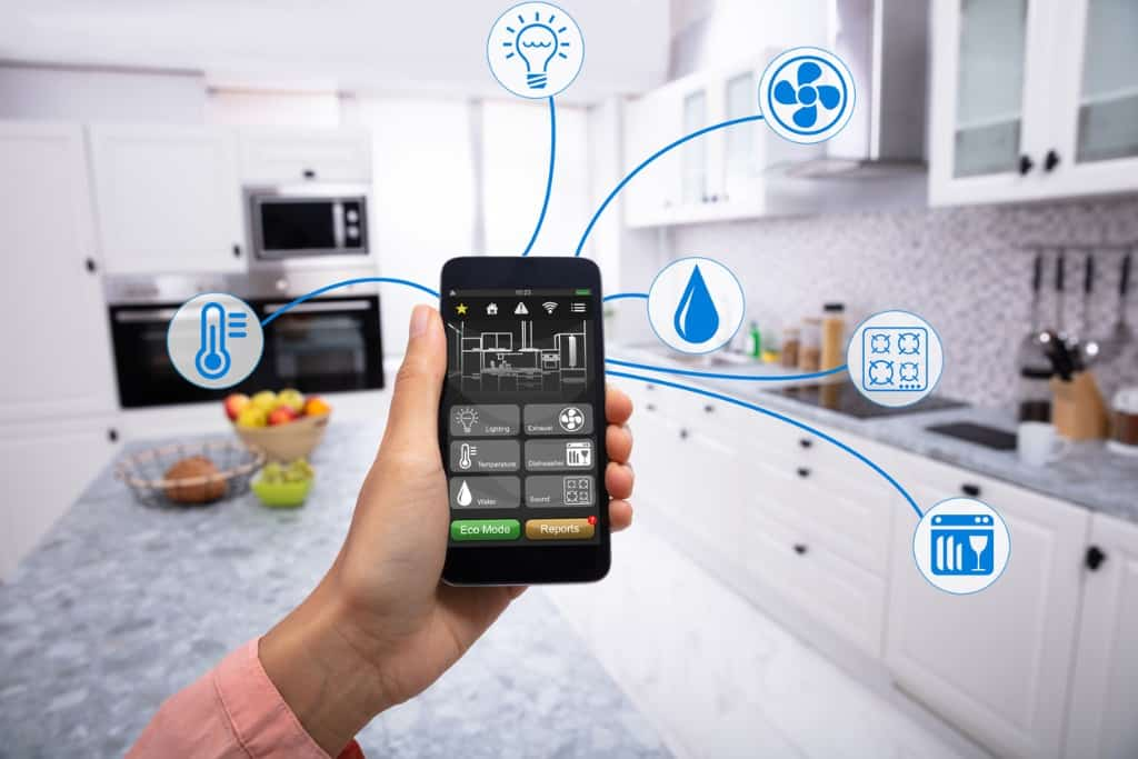 woman controlling smart house on her phone