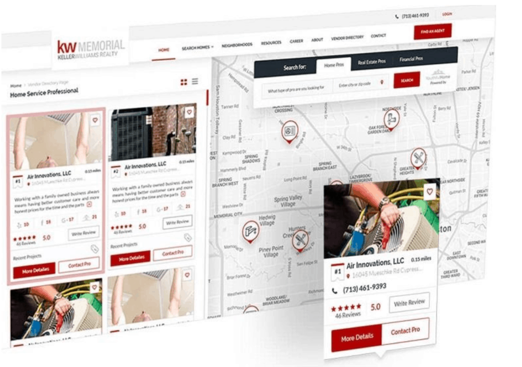 vendor directory example on real estate website