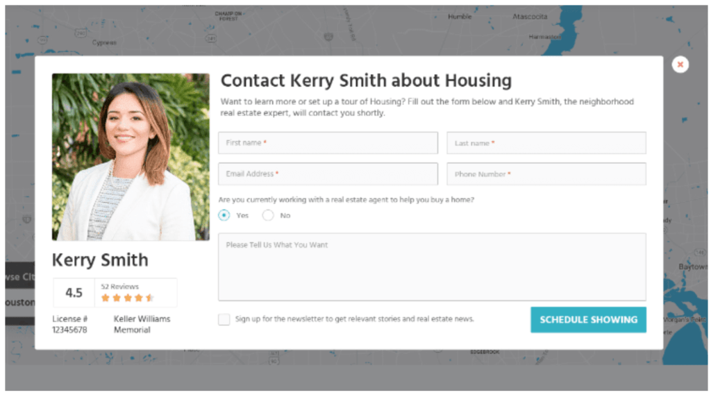 real estate website contact form example