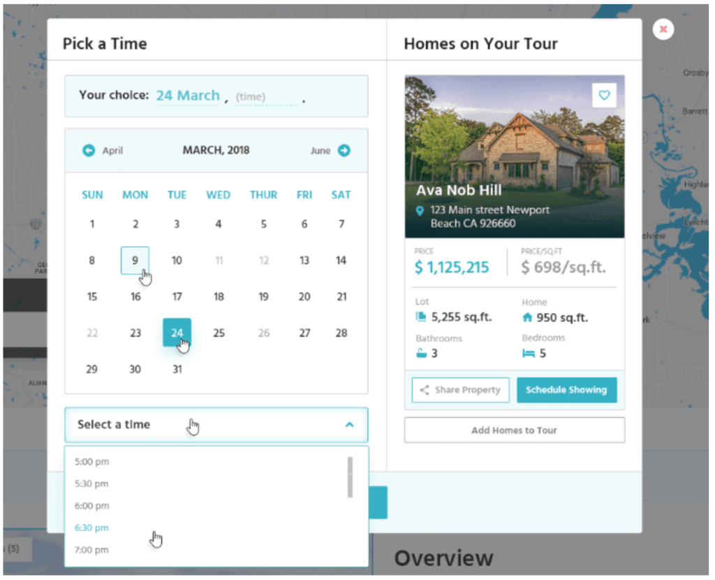 pick a time feature on real estate website for home tours