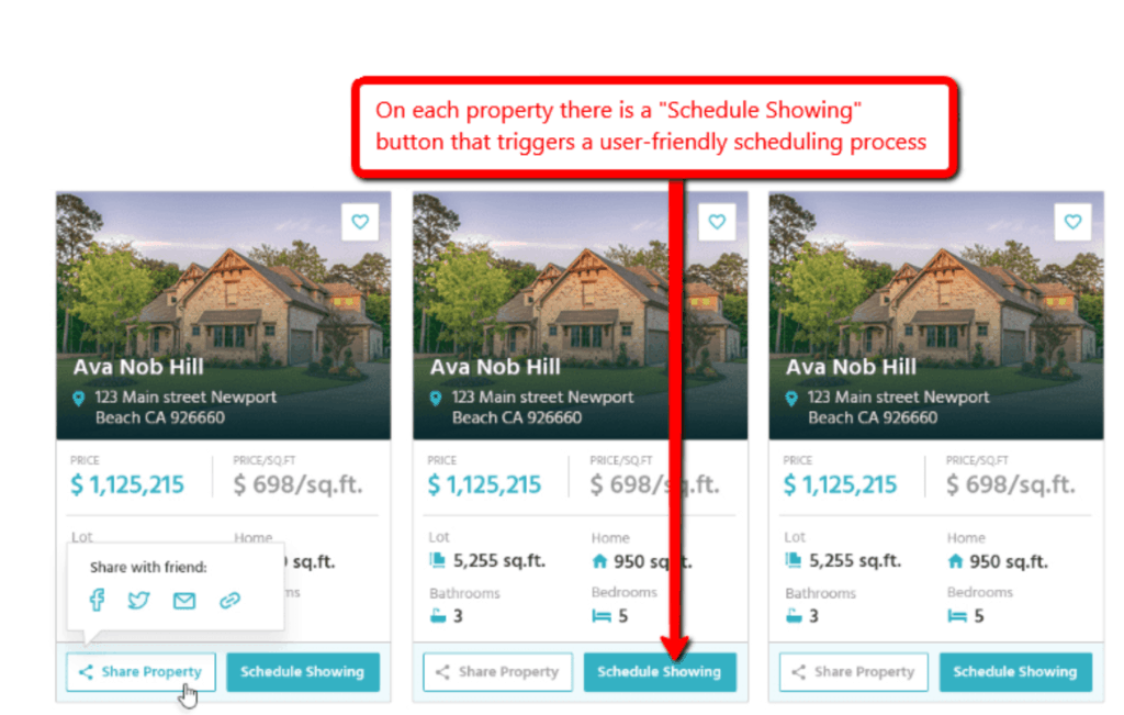 example real estate website with schedule showing feature
