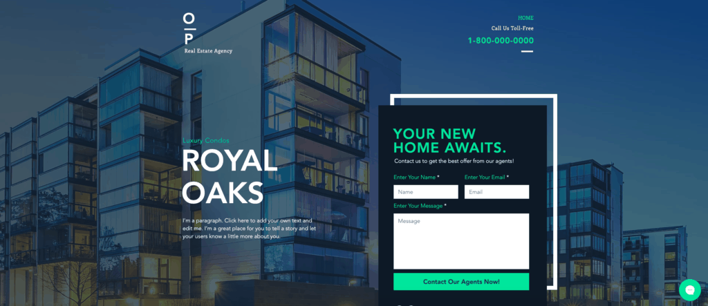 wix real estate landing page template