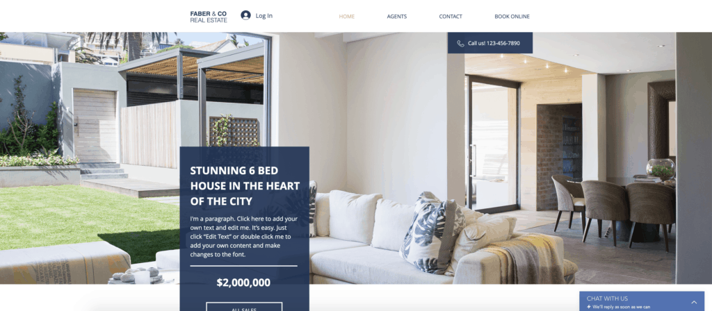 wix real estate company website template