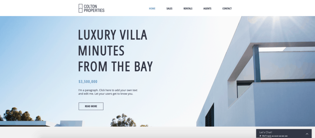 wix luxury real estate website template