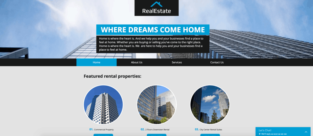 wix real estate website template