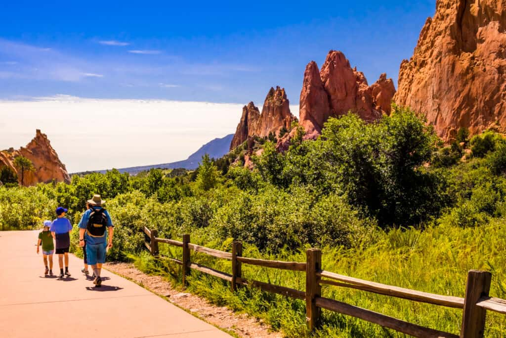 View of Garden of the Gods in Colorado Springs, Colorado, with people